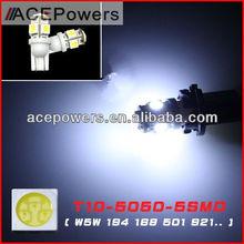 Hot selling t10 5050 5 smd auto cree led bulbs 12v/24v