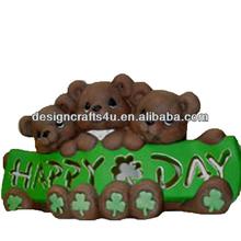 Resin Clover Bear Ornament For Saint Patrick's Day