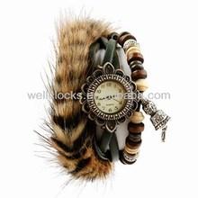 Newest design,artificial fur,vogue casual women's watch