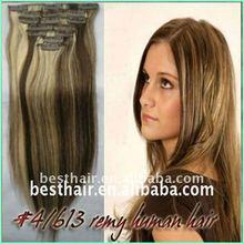 2013 Best price Remy Hair Clip in mink brazilian hair