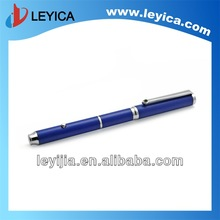Luxury diamond decorated ball pen with laser pointer in black and blue color