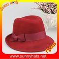 100% de fieltro de lana vestido de la señora fedora sombreros de las mujeres con la cinta de colores 4 paypal
