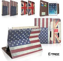 UK & US Flag Folio Retro Vintage PU Leather Flip Case Cover For ipad air apple tablet 5