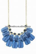 Fashion Rectangle Blue resin jewel beaded dangle necklace