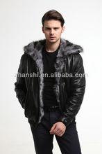 2014 Fashion Black Top Quality Fur Leather Jacket For Men