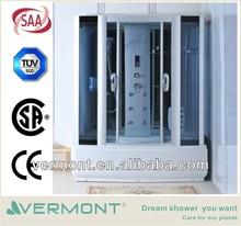 blue glass shower cabin