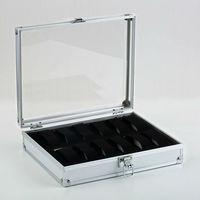 Watch Box Watch Gift Box 12 Grid Slots Jewelry Watches Display Storage Box Case Aluminium Square NEW