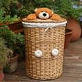 baratos de armazenamento cesta de vime com tampa