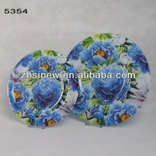 Clear Glass Plates with Flower Design