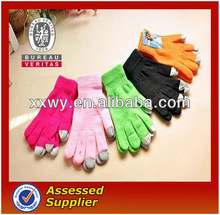 Wholesale High quality customized spot fingers kids touch knitted winter screen gloves acrylic for iphone