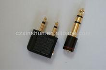 Travel set series aeroplane headphones adapter + 6.35mm plug to 3.5mm jack stereo convertor-gold plated