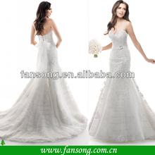 New Fashion Custom made Appliqued Floor Length Mermaid Lace Fabric for Wedding Dress