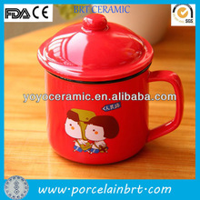 nice design red enamel coffee mug for promotions