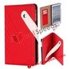 For iPad Mini Flip Cover Case! Book Cover Pattern Leather Flip Cover Case for iPad Mini (Red)