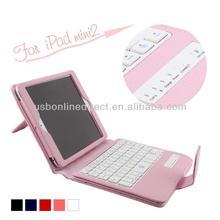 Detachable bluetooth keyboard pu leather case with abs key board for ipad mini 2 mini2