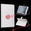 For iPad Mini Stand Skin Case! Diamond Pattern Magnetic Flip Leather Stand Skin Case for iPad Mini(White)
