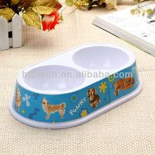 plastic water bowl double diner pet bowl