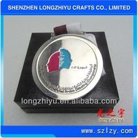 Designed silver tone blank coin belt buckle medal