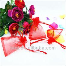 Popular wedding decorative jewelry red organza favor bags