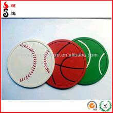 Basketball / Football Creative custom design silicone rubber embossed coaster cheap