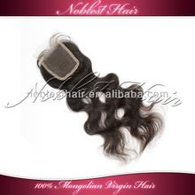"3% off wavy 100% mongolian virgin hair swiss lace closure 3.5""*4"" natural color natural wave top closure"