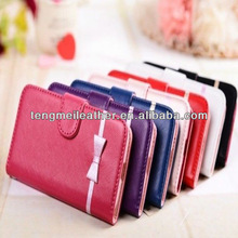Cute Bow Bowknot PU stand Leather Wallet with Card Shot Smart cover case for samsung galaxy note 3