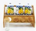 vasilha de porcelana conjunto com rack de bambu