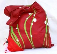 Black Zippered Nylon Mesh Shopping Tote Bag