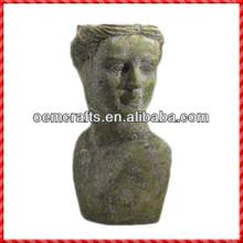 Vintage terracotta custom garden flower woman head shaped planter