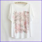 100% contton korea loose roses print for ladies o-neck t shirt
