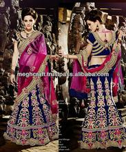 Designer indian bridal lehenga sarees - Blue lehenga saree -Heavy designer wedding lehenga sarees