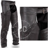 Black Color Mens Leather Chap With 4-Snapboot Cuffs