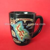 ZH4-0127 Black Glaze Bullet Shape Map Decal Mug