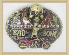 BUC8878 beautiful skull with motorcycle western belt buckles