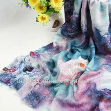 graceful purple lotus pattern digital printing wool wraps