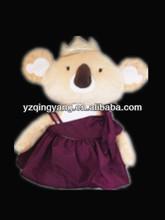 Factory supply promotional gift cute and cheap stuffed plush koala bear toy in purple dress