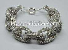 Inspired silver pave crystal link bracelet