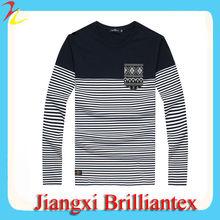 2014 Fashion Yarn Dyed Stripes Pocket TShirts Cotton/Mens Tshirts Manufacturer