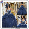 QU064 Beaded Ball Gown Organza Royal Blue And White Wedding Dresses