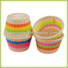hecho a mano bandeja redonda de mimbre cesta