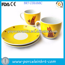 ceramic colour glaze decal espresso cup set