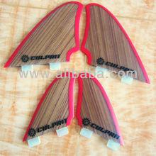 Quad bamboo surfboard fins