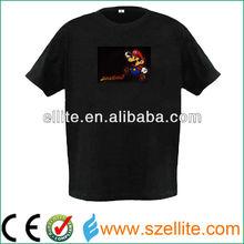 electronics t-shirt/el sound activated t-shirt/el lighting t-shirt