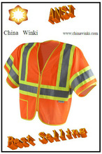 America ANSI Class 3 Two-Tone Zip Closure Day Work Reflective Vests With Pen Pockets