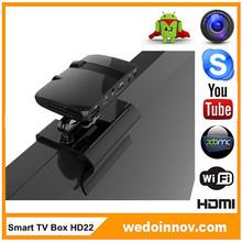 100% Original Smart TV Box HD22 google tv box android 2.3 Dual core internet smart tv box with webcam