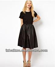 2014 ladies' girls fashion black long dress leather skirts