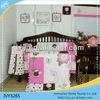 100% cotton sweet pink big flower bedding set wholesale/Colorful flower baby bedding set crib bedding set
