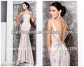 2013 nova moda vestidos longos de noite beading de duas alças rosa cetim formal vestido aberto nas costas 3215