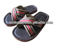 comfortable and durable boy customized flip flops with canvas X strap