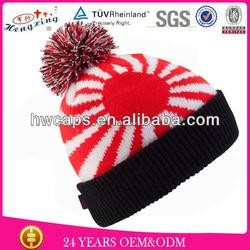 Acrylic knitted winter beanie hat headwear pom pom top ball